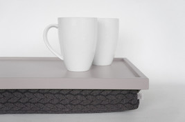 Breakfast Serving Lap Tray or Laptop Lap Desk, stand- light grey with grey braid - $60.00