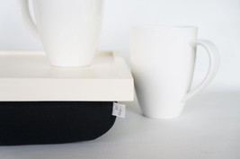 Stable table, iPad stand or Breakfast serving Tray - bright white with soft blac - $60.00
