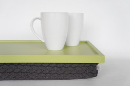 Breakfast Serving Lap Tray or Laptop Lap Desk, stand- light green with grey brai - $60.00