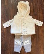 Carters Newborn Girls 3PC Set (Long Sleeve Bodysuit + Hooded Vest + Pants) - $15.79