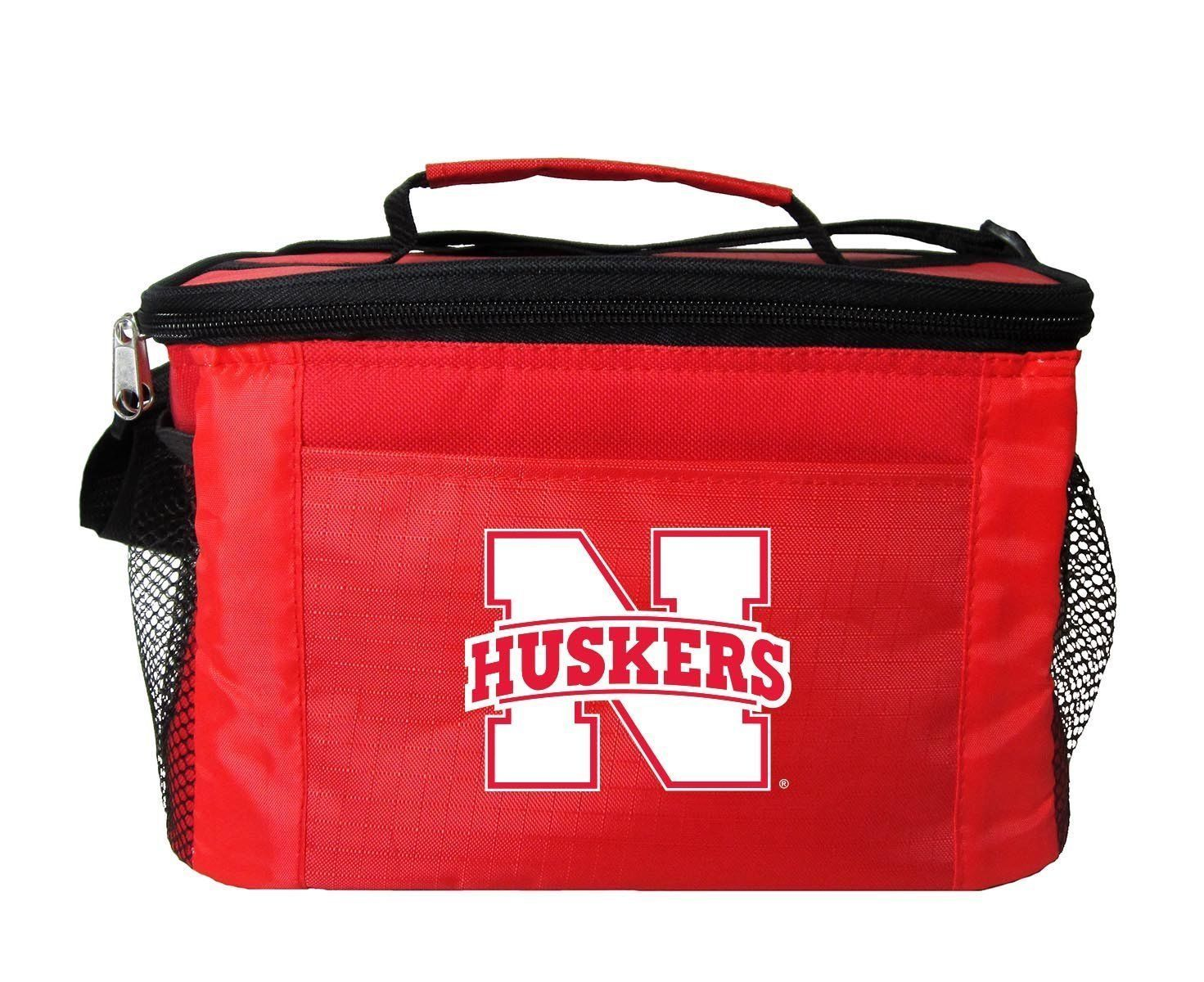NEBRASKA HUSKERS LUNCH TOTE 6 PK BEER SODA TEAM LOGO KOOLER BAG NCAA