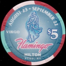 $5 Casino Chip, Flamingo Hilton, Reno, NV. Virgo, #0071 of 1500. L53. - £4.41 GBP