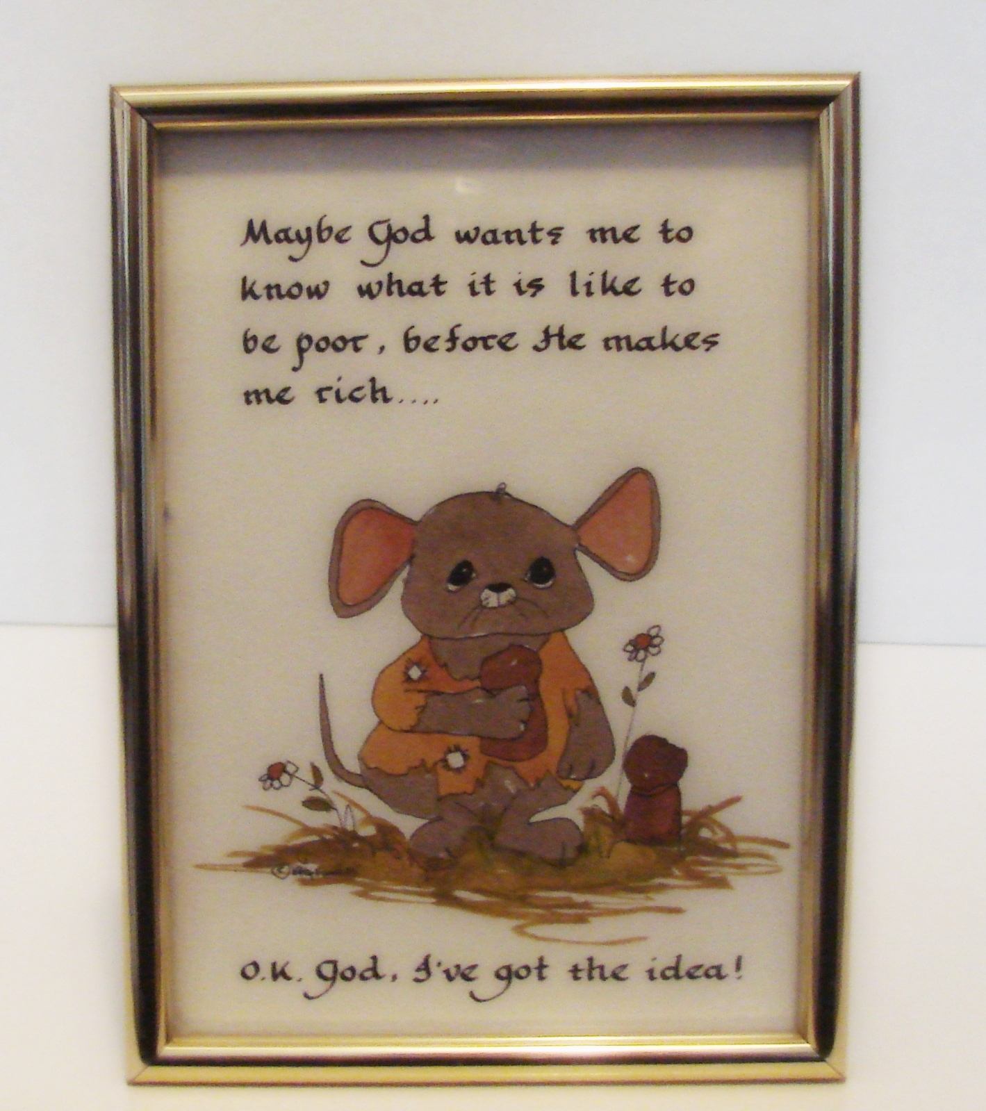 Primary image for OK, God, I got the idea! Framed Print of Whimsical  Calligraphy by Katy Fischer