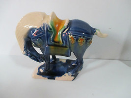 ASIAN BLUE POTTERY HORSE BOTTOM STAMPED - $9.89
