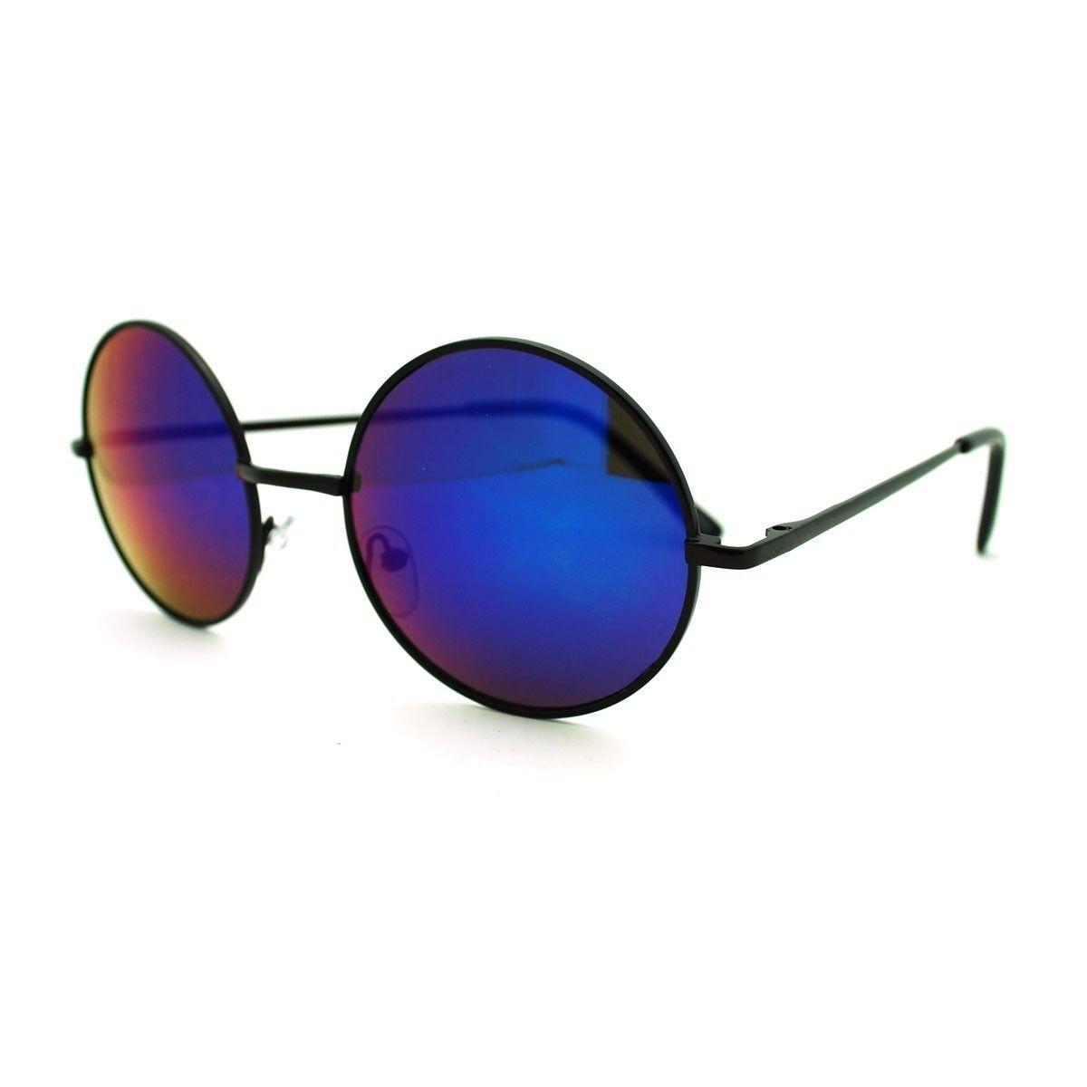 53ecdd8ebe 70s Activist Hippie Circle Mirror Lens Wire Rim Round Retro Sunglasses