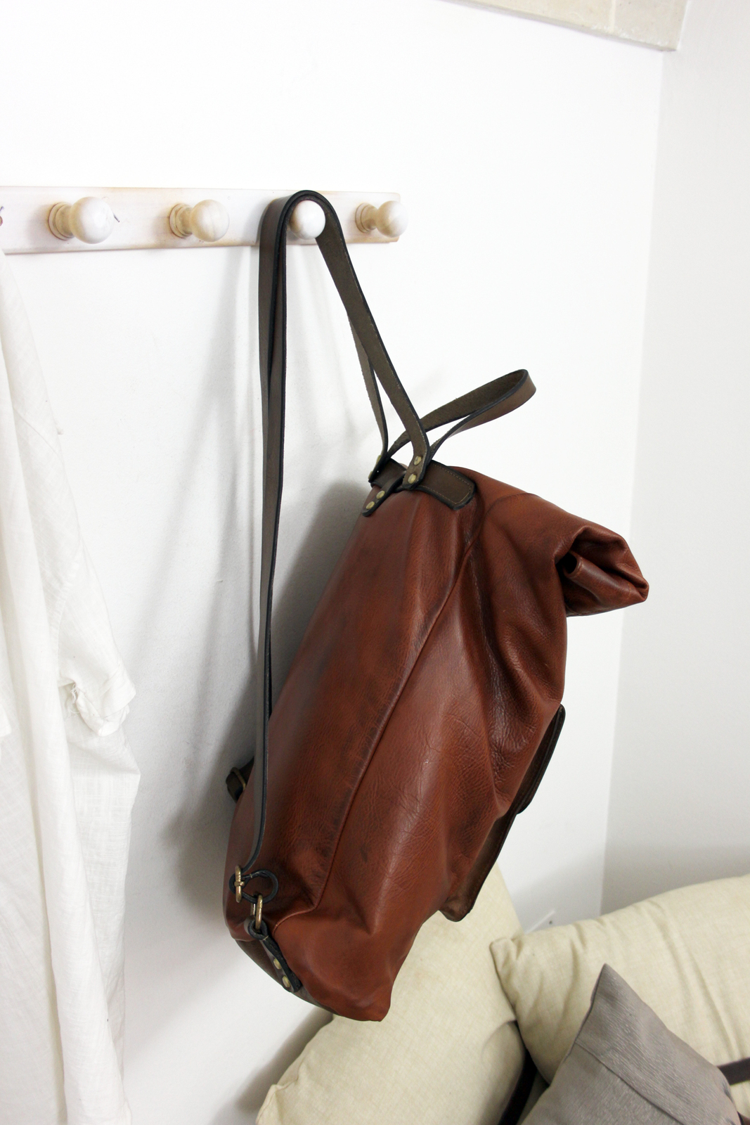 ROLL BACKPACK handmade leather & canvas backpack image 7