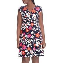Chaps Womens Blue Pink White Dress Floral Empire Faux Wrap Plus Sz 14W NWT - $59.39