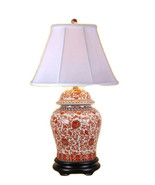 Beautiful Oriental Porcelain Orange And White Ginger Jar Lamp Lotus Patt... - $267.29