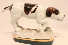 Beautiful Oriental Cute Porcelain Hand Painted Sitting Dog Figurine Gold... - $39.59