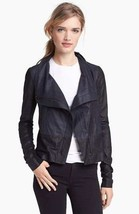 NEW Authentic VINCE Colorblock Asymmetrical Leather Scuba Jacket, Coastal/Black - $459.95