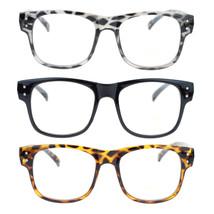 Mens Retro Normcore Horn Rim Nerdy Geek 2 Metal Dot Trim Optical Eye Glasses - $7.95