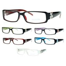 SA106 Flor de Lis Womens Narrow Rectangular Clear Lens Eye Glasses - $9.95