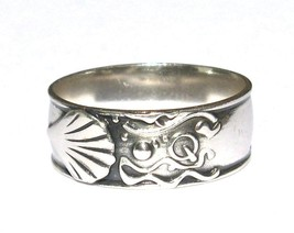 Solid Sterling Silver .925 Shell Wave Design Ba... - $16.99