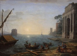 A Seaport at Sunrise by Charles Lorrain  -  Cards and Small Prints - $8.15+