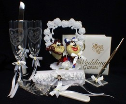 TASMANIAN DEVIL TAZ wedding Cake topper LOT glasses server guest book garter - $163.15