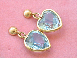 ESTATE 12 CARAT AQUAMARINE HEARTS 18K YELLOW GOLD STUD DANGLE CLIP EARRINGS - $1,876.05