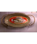 Beautiful,Vintage Glasbake Ovenware Fish Serving Platter/Imported Wicker... - $29.95