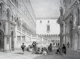 ITALY Venice St. Mark's Palace Inner Court - SUPERB 1843 Antique Print - $49.50