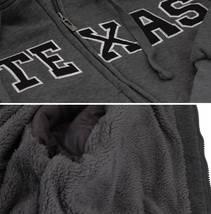 Men's Texas Embroidered Sherpa Lined Warm Zip Up Fleece Hoodie Sweater Jacket image 4