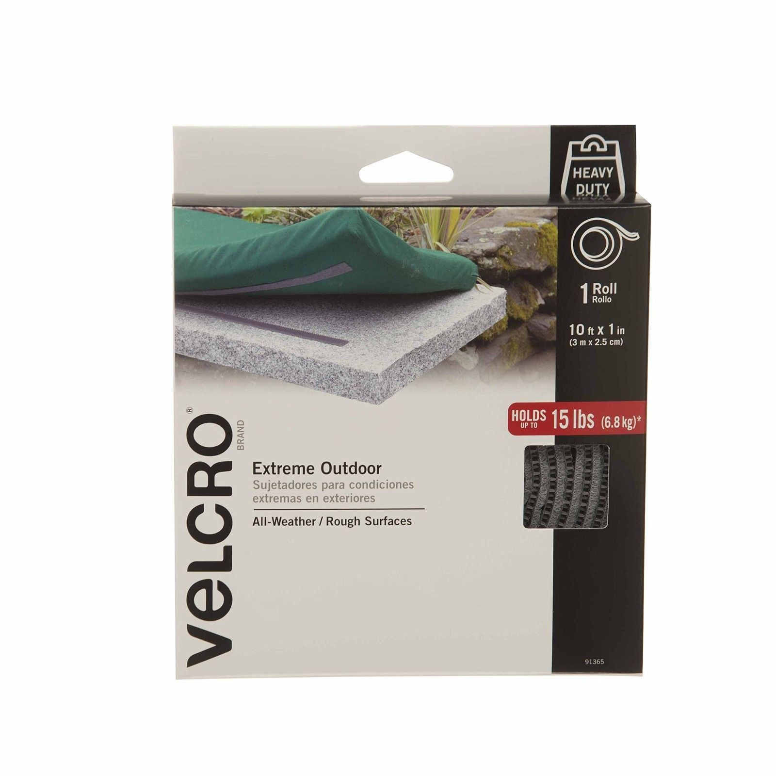 VELCRO Brand - Extreme Outdoor Extreme - 1 in Wide Tape 10 ft - Titanium 10'