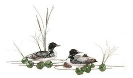 Bovano Enamel Wall Sculpture Loon Duck Family with Babies - $392.70