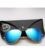 Ray ban aviator colored mirror sunglasses blue thumbtall