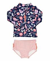 RuffleButts Little Girls Botanical Beach Long Sleeve Zipper Rash Guard B... - $29.31