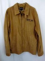 Party Poker Jacket Large Suede Look Beige Camel Color Zip Up L Mens  - $39.99