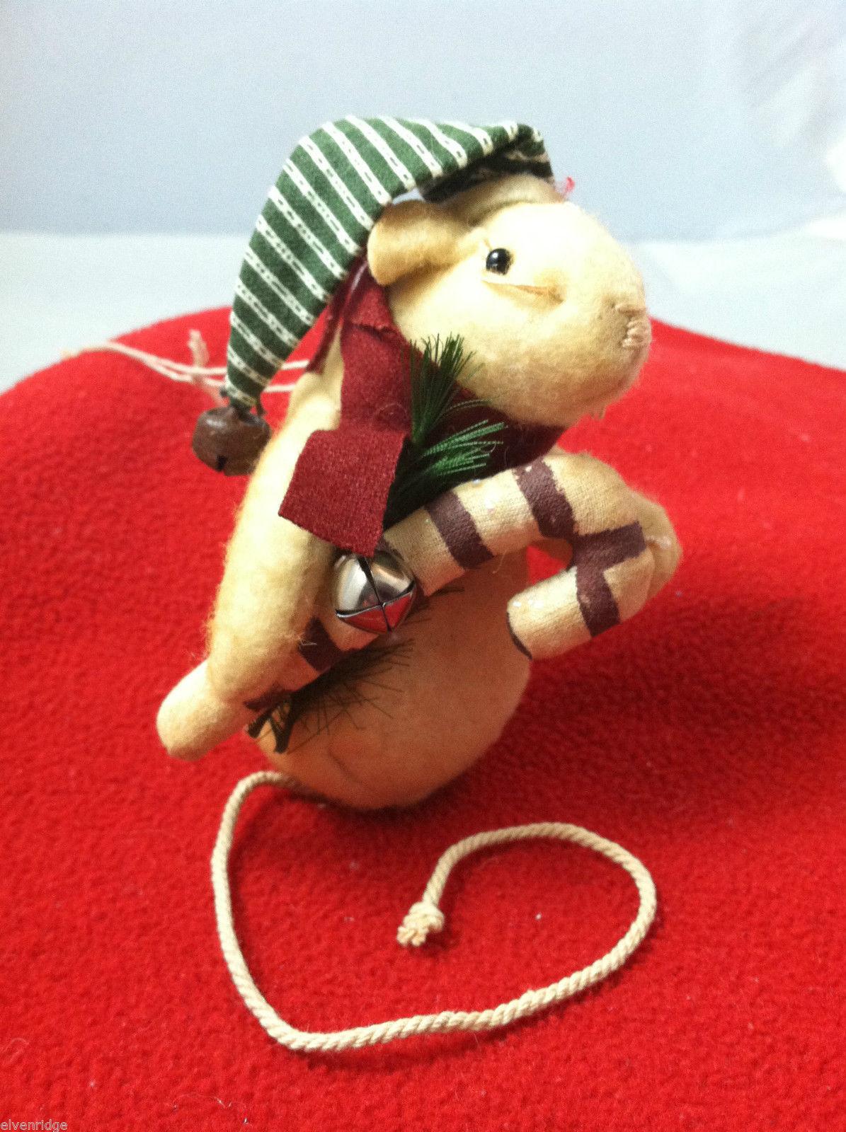 Very Cute Weighted Christmas Mouse with candy cane ornament Can Stand Upright