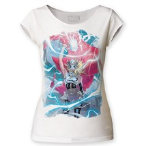 Marvel Comics The Mighty Thor Girl Electricity Ladies Jr Raw Edge T-shir... - £20.17 GBP