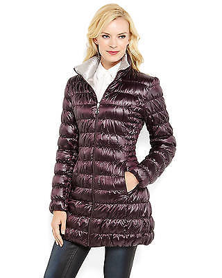 LAUNDRY by SHELLI SEGAL Solid Purple Silver Reversible Down Puffer Packable Coat