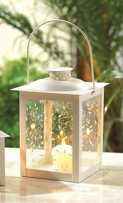 20 Large Ivory Glass Shabby Candle Lantern Chic Wedding Party Centerpieces