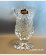 Zajecar Yugoslavia Lead Crystal Small Floral Panel Vase Pedestal Bottom - $10.50