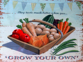 Grow Your Own Vegetable Garden Plant Vegetables Fruit Food Metal Sign - $15.95