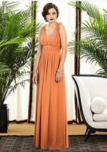 Dessy Creations 2890..., Full length, Chiffon Orange Dress....Clementine... - $69.29
