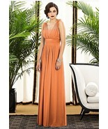 Dessy Creations 2890..., Full length, Chiffon Orange Dress....Clementine... - $69.29
