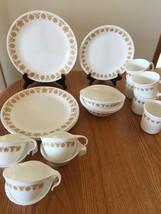 CORELLE GOLD BUTTERFLY DINNERWARE~DINNER LUNCHEON PLATES SAUCERS CUPS - $7.44+