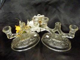 890 McKee Rock Crystal Two Light Candle Holder Set - $34.50