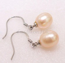 Fresh Water Pink Pearl X'mas Wedding 925 Silver Hallmark Dangle Hook Ear... - $18.61