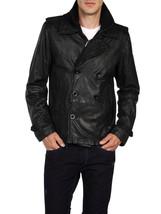 Diesel L-Kora Men Black Goat Leather Lined Peacoat Double Breasted Jacke... - $459.99