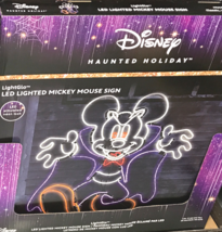 Disney Haunted Holiday Mickey Mouse Sign LED Lighted Halloween Decor Vam... - $133.78