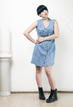 90s vintage button front denim dress - $38.66