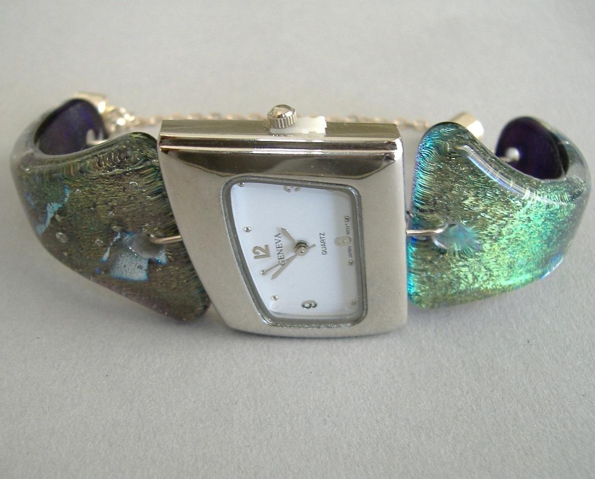 Seafoam Green Watch Dali Angle Dichroic Fused Glass Band Wristwatch Bonanza