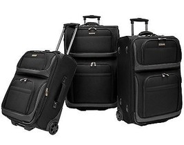 Traveler Choice Conventional 3pc Black Rugged Rollaboard Rolling Luggage... - $249.99