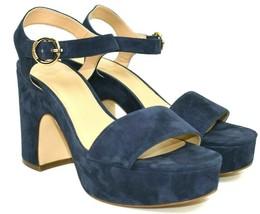 Michael Kors Women's Blue Suede Open Toe Ankle Strap Platform Heels Size... - $55.76