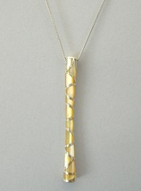 Yellow Mother Of Pearl Handcrafted Pendant Sterling Silver Necklace - $100.00