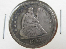 1858 SEATED LIBERTY QUARTER-VERY DECENT SPECIMAN- FREE SHIPPING!! - $67.27