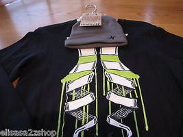 Boy's youth XL long sleeve surf skate shirt beanie hat combo Hurley true... - $26.72