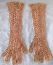 """True Vintage Handmade Crochet Long Eveningwear Gloves Floral 14"""" Victori... - $49.99"""