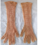 "True Vintage Handmade Crochet Long Eveningwear Gloves Floral 14"" Victorian Type  - £38.23 GBP"